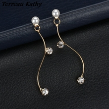 Terreau Kathy Temperament Imitation Pearl Earrings For Women Fashion Metal S Curve Crystal Drop Earrings 2016 New Jewelry(China)