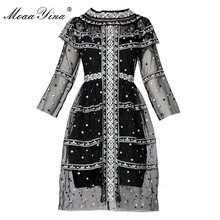 Buy MoaaYina High Designer Runway Sexy Dress Summer Women 3/4 Sleeve Embroidery Mesh Holiday Party Slim Retro Elegant Dress for $64.59 in AliExpress store