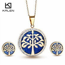 2016 Kalen Stainless Steel  Italian Gold Color Tree Of Life Pendant Necklace Earrings Jewelry Set for Female Made in China