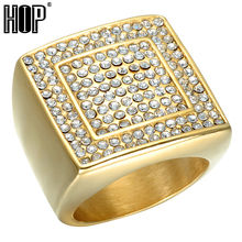 HIP Hop Micro Pave Rhinestone Iced Out Bling Big Square Ring IP Gold Filled Titanium Stainless Steel Rings for Men Jewelry