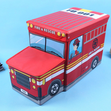 Children's Cartoon Toy Bus Pattern Storage Box Creative Chair Cute Toy Storage Box Red 55*33*26 CM  Fighting Truck Organizer Box