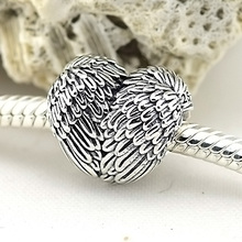 Fit European Charms Bracelets 2015 Autumn New Angelic Feathers Charms Vintage Angel Wing Heart Charm 925 Sterling Silver Jewelry