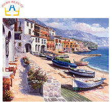 HOME BEAUTY 40x50cm diy digital oil painting by numbers home decoration craft picture paint on canvas landscape sea boat G219