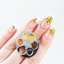 1Pc DIY Color Painting Nail Art Tool Mini Finger Nail Gel Polish Palette For Free Hand Manicure Ring Palette Footprint Design