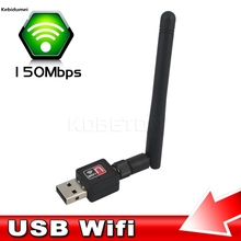 Mini PC wifi adapter 150M USB WiFi antenna Wireless Computer Network Card 802.11n/g/b LAN Wireless PC wifi adapter wiht Antenna(China)