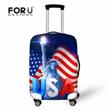 FORUDESIGNS Russia USA Flag Print Covers For Trolley Suitcase Dustproof Elastic Luggage Protective Cover For 18-28 Inch Luggage