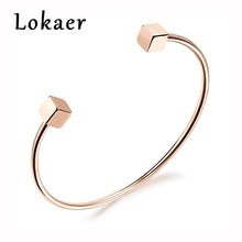 Lokaer Classic Double Cube Shaped Women Cuff Bangles Simple Rose Gold Color Party Jewelry Fashion Stainless Steel Bracelets