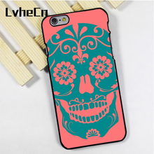 LvheCn phone case cover fit for iPhone 4 4s 5 5s 5c SE 6 6s 7 8 plus X ipod touch 4 5 6 Candy Sugar Skulls Pattern Pink Blue(China)