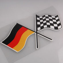 BBQ@FUKA 1pcs Car sticker Film Auto car German Germany Checkred Flag Emblem Badge Sticker for bmw audi volkswagen jetta golf mk7(China)