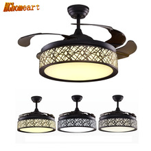 HGHomeart European LED Fans Light Chandeliers for The Bedroom E27 Iron Living Room Lamp Retro Chandelier Antique Lighting 220V