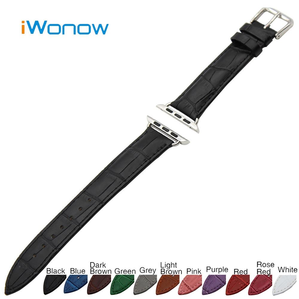 Croco Genuine Leather Watchband for 38mm 42mm iWatch Apple Watch / Sport / Edittion Band Strap Wrist Belt Bracelet + Adapters<br><br>Aliexpress