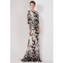 summer party maxi dresses black sequin flowers nude mesh women long dress o-neck half sleeve floor length luxury dresses quality