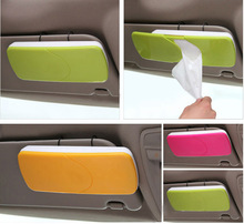 60pcs/lot Creative Candy Color Car Sun Visor Sun-Shading Board car Tissue Box Hanging Pumping Paper Napkin Holder with Clip