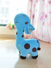 cute cartoon spots giraffe toys lovely blue giraffe plush doll birthday gift about 35cm