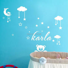 DIY Teddy Bear Moon Clouds Stars Decorative Wall Stickers Custom Name Vinyl Art Decal for Babys Room(China)