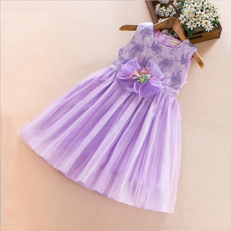 Girls Dress Summer Lace flower Childrens Party Wedding Princess pink/white kids Lush dress for girl clothes 5 6 8 9 years old<br>