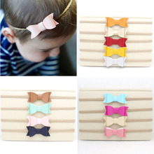 13pcs/lot Leather Bow Cute Nylon Headband with Great Elasticity Stretch Head Band Kid Head Wrap Hair Bow Accessory