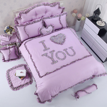 100% Cotton Purple Pink Blue Red Girls Bedding set Twin Full Queen King size Duvet cover set Bed skirt Quilt cover set 4/7Pcs(China)