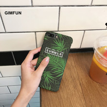 Gimfun Summer Banana Leaves Flower Phone Case for Iphone 7 7plus 6 6s 6plus Case Fresh Scrub Hard Plastic Cover Cases