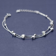 Flyleaf 925 Sterling Silver Double Box Chain Matte Stars Bracelets For Women Fashion Lady Hypoallergenic Sterling-silver-jewelry(China)