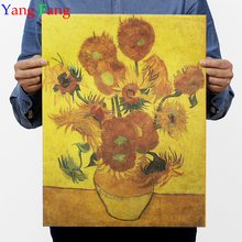 sunflower apricot flowers After van gogh impressionist paintings Kraft paper posters adornment frameless vintage poster 51*35cm