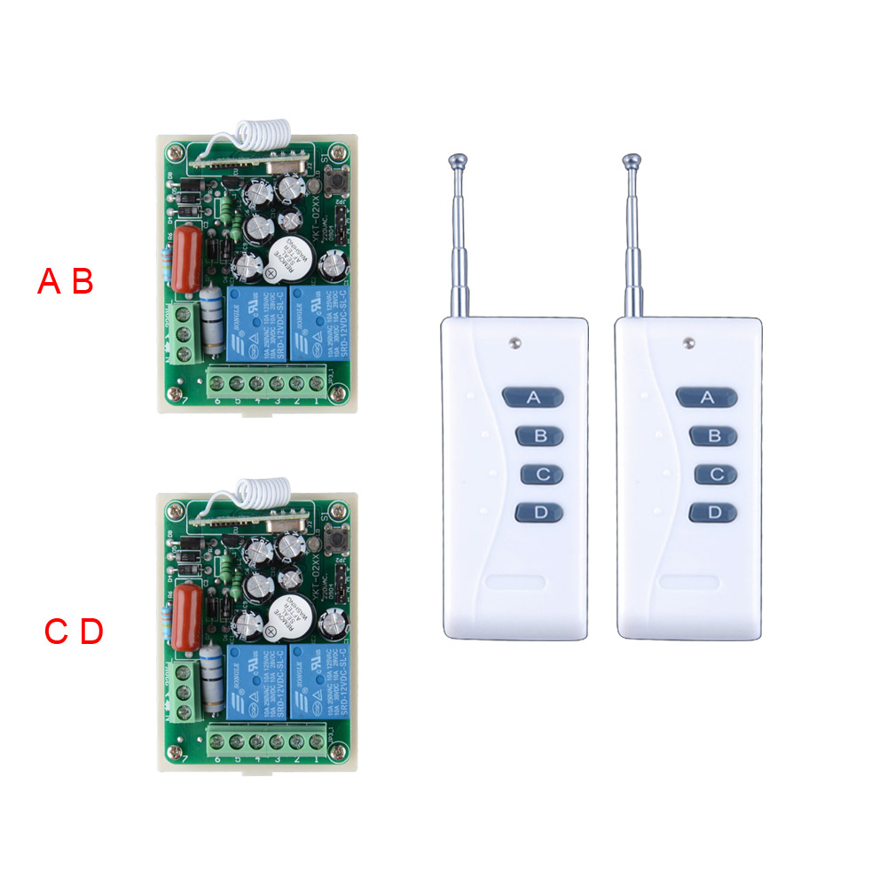 AC220V 2CH 10A Relay RF Wireless Remote Control Switch System Receiver With long Distance 4 Button Remote Control 100-500m<br>