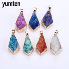 Yumten Natural Crystal Pendant Charms The Geode Clusters Buds Ribbon Necklace Jewelry Correntes Feminino Collier Perle Chaveiro