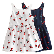 Cute Cherry Girl Dress A-Line Sleeveless Kids Girls Bow Decor Children Princess Baby Girls Summer Dress White Blue