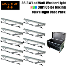 Cheap Price 10 Unit Sturdy Aluminum Housing RGB 36X3W Building Wall Led Washing Light 3CH/7CH IP65 Rain Resistant Roadcase Pack