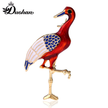 Duohan MultiColor Enamel Bird Pin Vivid Red-Crowned Crane Lapel with Crystal Exquisite Family  Team Building Brooch