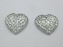 40 Clear Acrylic Heart Flatback Dotted Rhinestone Beads 15mm Flat back Resin(China)