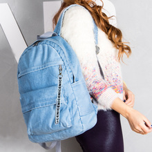 Fashion design denim backpack blue jeans women backpack bag school women-bag laptop backpack travel book female mochila escolar