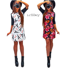 LOSSKY 2017 Spring Sexy Women New Arrival Print Dress O-neck Half Sleeve Sheath Dress Casual Style Comfortable Pretty Canonicals
