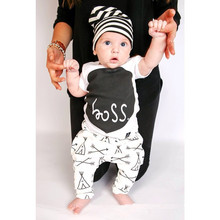 Retail 2018 baby boy and girl clothes Autumn letter infant garment 2pcs suit newborn clothes baby clothing set toddler suit(China)