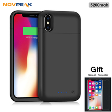 Novpeak 5200mah X Case for iPhone, External Battery Charger Case Power Bank Pack Rechargeable Cover for Apple iPhone X(China)