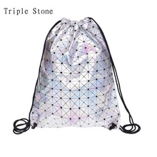 Triple Stone Hologram Holographic Lattice Silver Drawstring bag Harajuku Travel backpack mochila feminina Fashion Shopping Bag