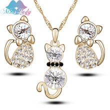 Miss Lady Gold color Crystal Kitty Cat Pendant & Necklace Jewelry Earring Sets Jewelry For Women MLJG203(China)