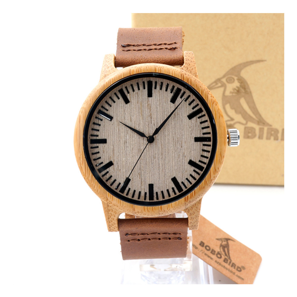 BOBO BIRD A16A19 Mens Natural Wood Bamboo Watches Womens Vintage Wooden Watch With Genuine Leather Band<br><br>Aliexpress