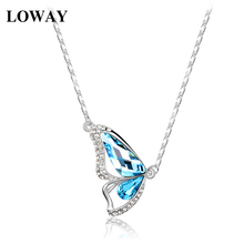 LOWAY Lady Fine Jewelry Light Blue Cubic Zirconia White Color Butterfly Pendant Necklace Women Gift  XL1830