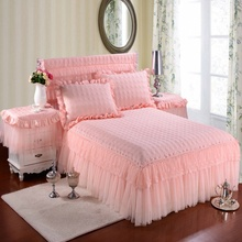 100% Cotton Princess Lace Bedding set Bed skirt Pillowcases Pink Bege King/Queen/Full size 3Pcs Bedsheet For Girl Gifts