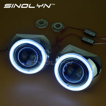 SINOLYN Car Styling 2.5'' HID Bixenon Projector Lens LED DRL Angel Eyes Halo Kit Iris Shrouds H1 H4 H7 Headlight Retrofit DIY(China)