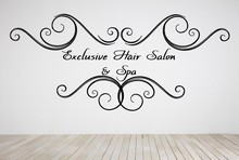 Beauty Hair Salon Exclusive Hair Salon& Spa Lettering Wall Stickers Vinyl Wall Decal Barbershop Hair Shop Home Decoration
