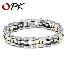 OPK Punk Bike Chain Bracelets For Men Mixed Black & Gold Color Sporty Bicycle Biker Cool Boy Stainless Steel Jewelry GS857-859