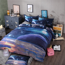 3d Galaxy bedding sets Twin/Queen Size blue Universe Outer Space Themed Bedspread 3pcs/4pcs Bed Linen Bed Sheets Duvet Cover Set