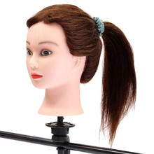 Cheap Price 20Inch Length Brwon 50% Real Human Hair Hairdressing Practice Training Head Mannequin With Clamp Barber Accessory