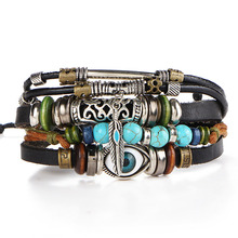 2017 New Mens Boheme Natural Wood Turquoise Evil Eye Stone Beads Bracelet Braclets Men's Hand Male Handcuff Leather Jewelry Bracelets for Men(China)