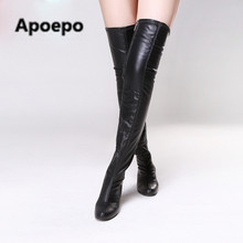 Apoepo 2017 spring  women boots sexy Leopard med heel thigh high boots black motorcycle boots zip ladies shoes chaussure femm