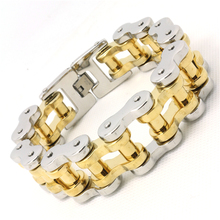 Mens Boys 316L Stainless Steel Cool Motorcycle Chain Siver Golden Huge Heavy Big Bracelet Guarantee 100%