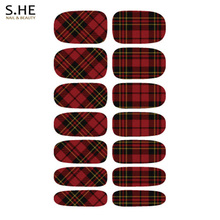 Charm Black Red Stripe Plaid Design Nial Stickers Resin Nails Sticker Art Water Transfer Decals Wraps Free Shipping
