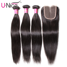 Unice Hair Weave Closure Lace Straight 3-Bundles Peruvian with 4/5PCS Swiss Black Friday